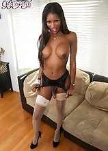 Beautiful black tgirl superstar Natassia Dreams got an amazing body, big boobs and a sexy firm booty! Watch her stroking her cock for you!