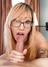 Slim Asian American tgirl Lizzy Red gives King a smoking hot blowjob before her fucks her firm ass until he cums all over her!