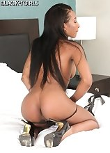 Gorgeous black tgirl China Sweet Cheeks can't wait to pull that hard cock of hers out and start playing with it! Watch her stroking it until she