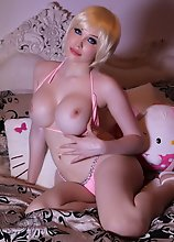 TS sweetheart Sarina strips & plays