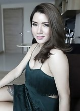 25yo busty Thai ladyboy does a striptease for white tourist