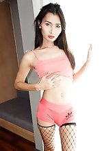 Ladyboy Cheraim - Peach Two Piece Creampie